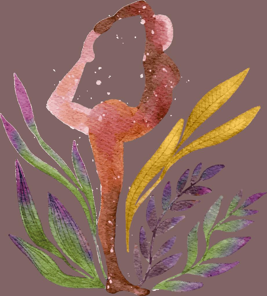 Aquarell einer Yoga machenden Frau
